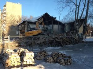 Снос здания по адресу г.Екатеринбург, ул. Инженерная 63. Январь 2017 года